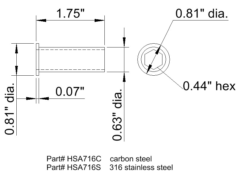 hex shaft adapter diagram